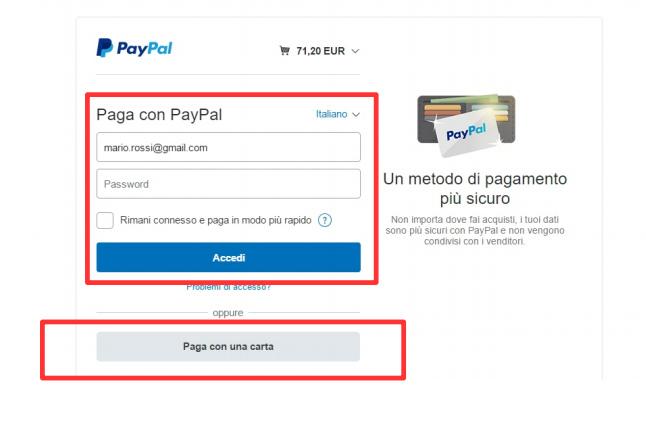 Pagamento tramite circuito PayPal